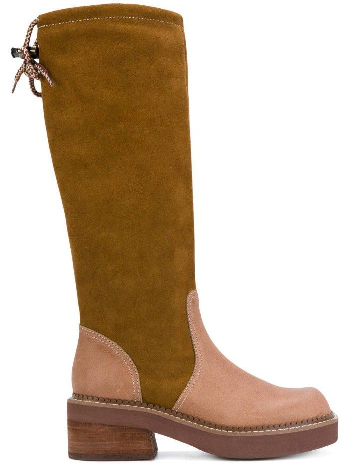 зимняя женская обувь 2020: комбинированные сапоги на низком ходу