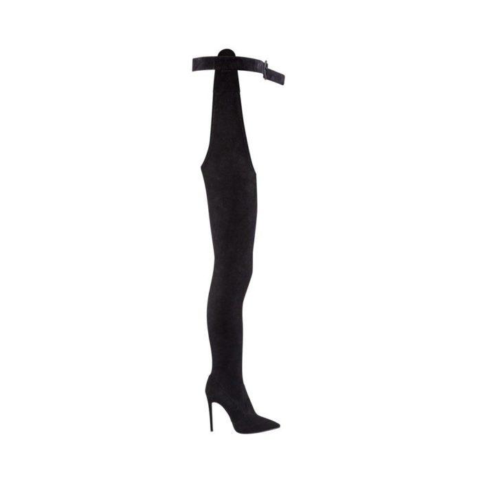зимняя женская обувь: замшевые высокие ботфорты на шпильке
