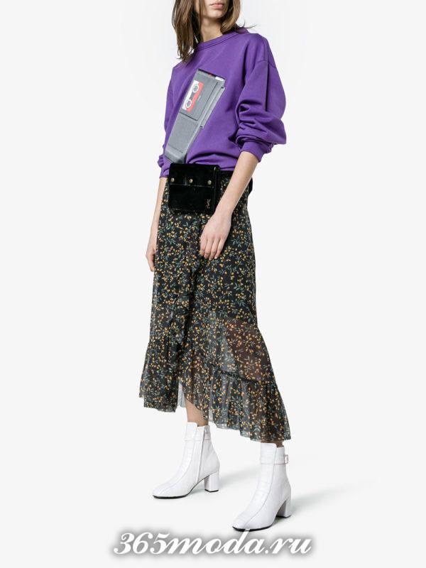 белые ботильоны на толстом каблуке мода 2018