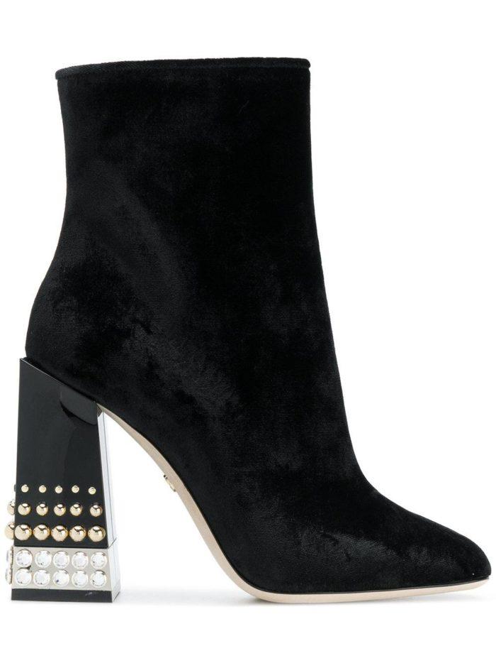 бархатные черные на толстом каблуке с заклепками