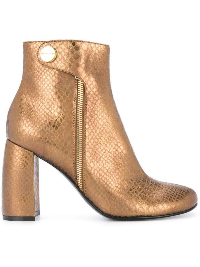 золотые на толстом каблуке