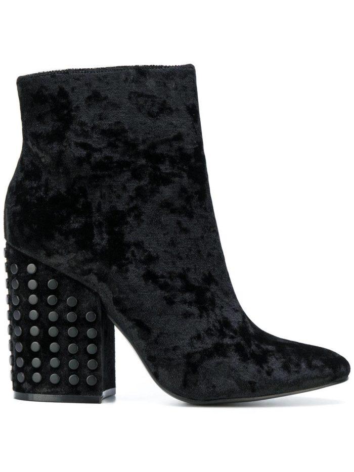 бархатные черные на толстом каблуке с декором