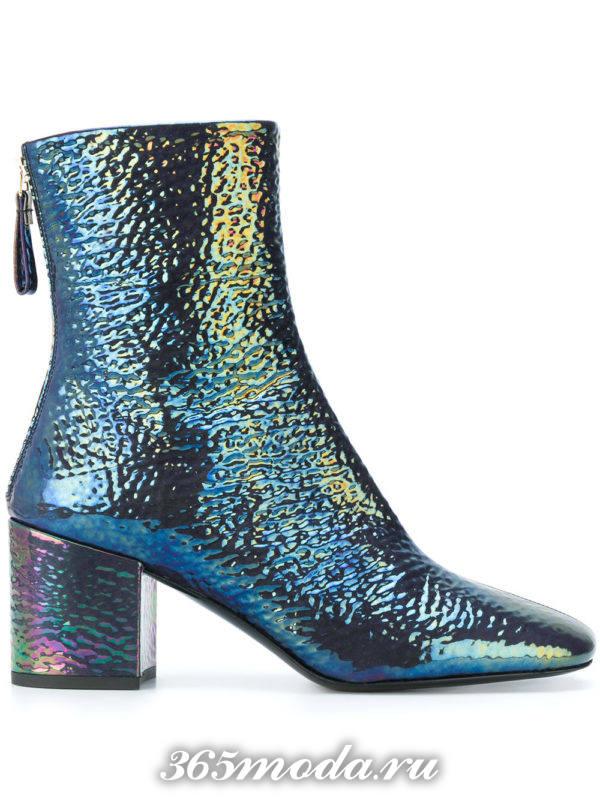 модные ботильоны: блестящие ankle на каблуках