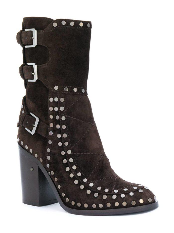 коричневые замшевые ankle с заклепками на каблуках