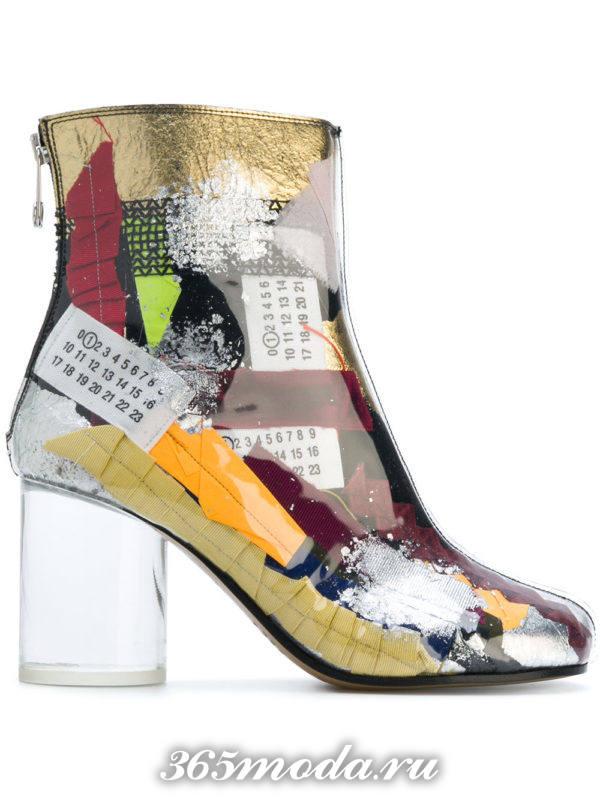 модные ботильоны: ankle с принтом и прозрачными каблуками