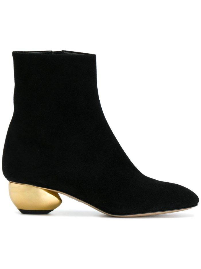 черные замшевые ankle на фигурных каблуках