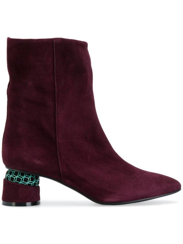 бордовые замшевые ankle на фигурных каблуках