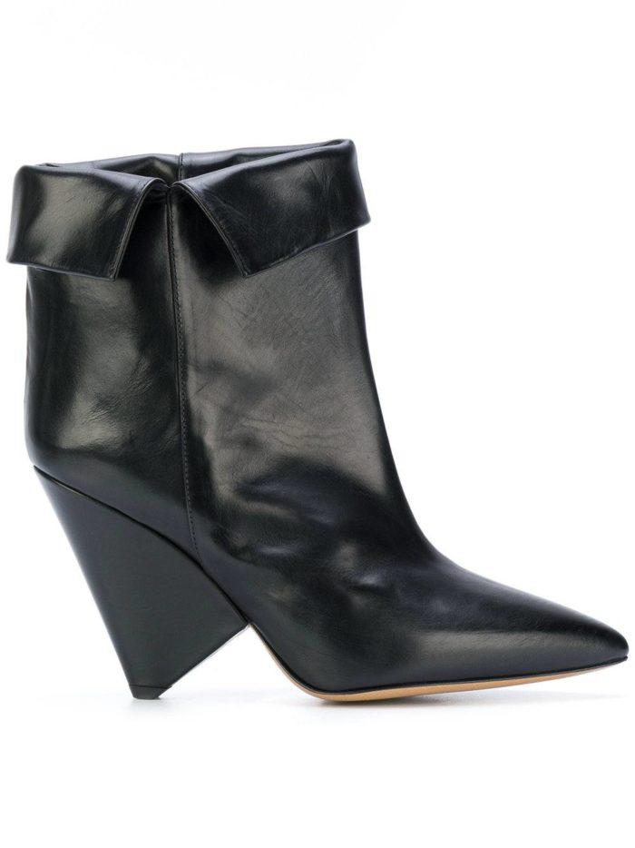 черные ankle с отворотом с фигурными каблуками