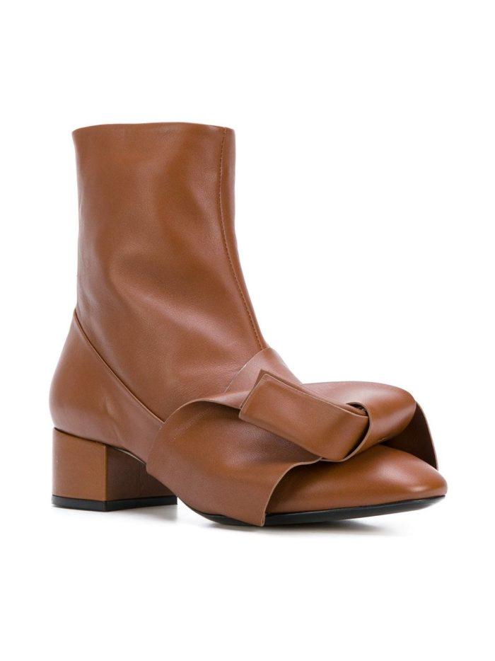 коричневые ankle с декором на низких каблуках