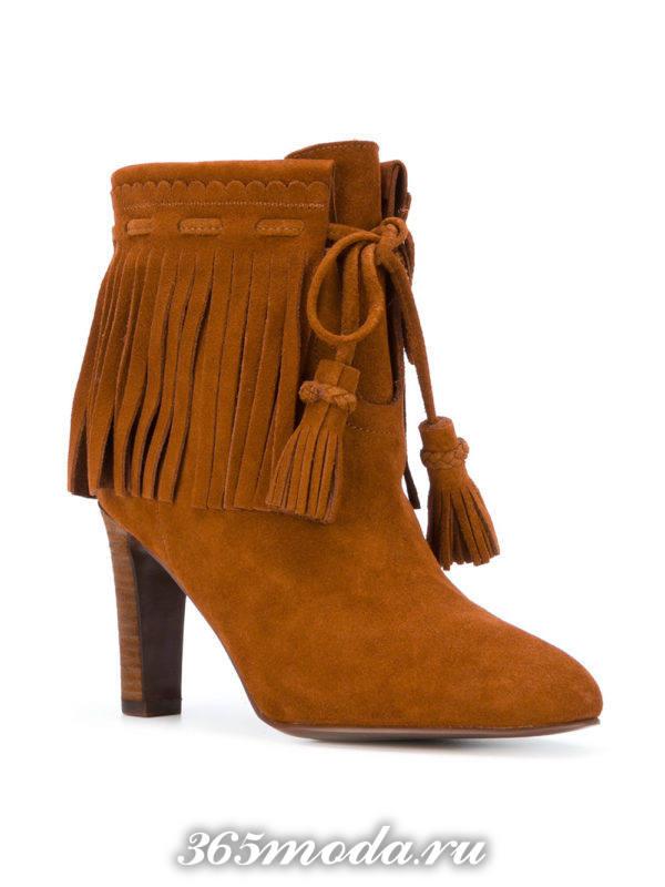 замшевые ботильоны «ankle» с бахромой на каблуках модные 2018 года