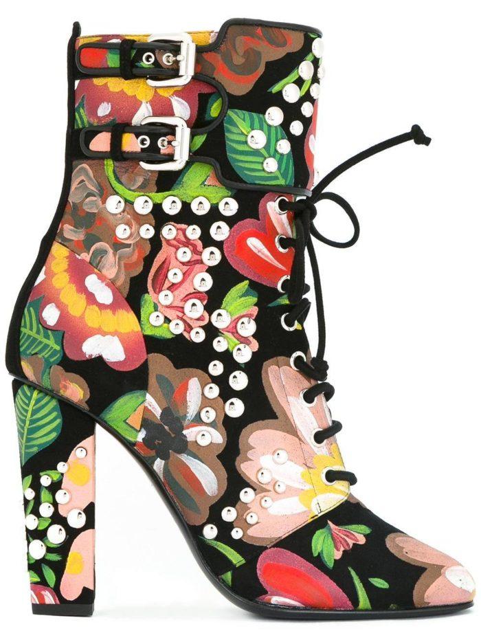 ankle с принтом на шнуровке и каблуках
