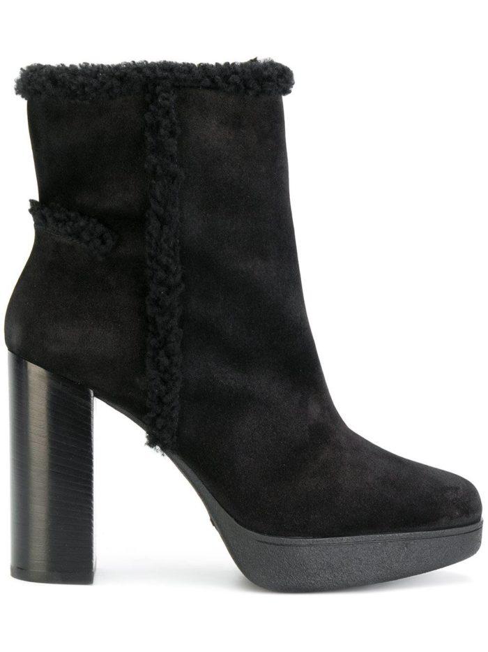 черные замшевые на каблуках с мехом