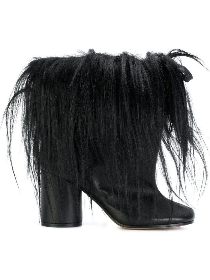 черные с мехом на каблуках
