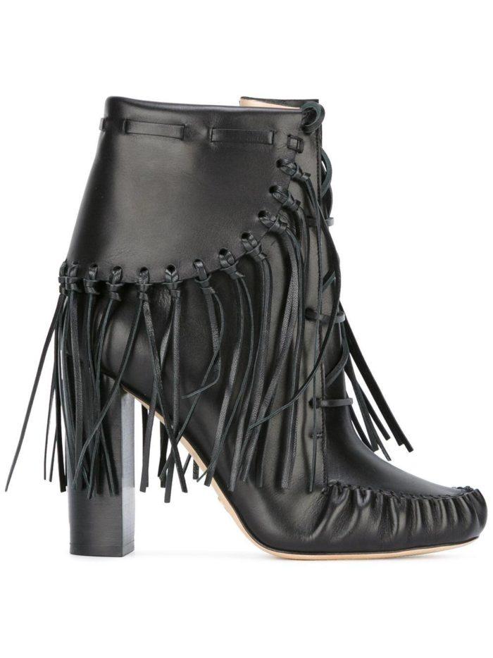 черные с бахромой на каблуках