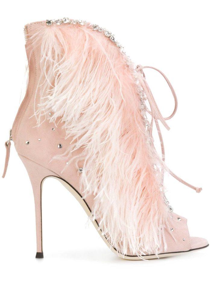 розовые на шпильке с перьями и шнуровкой