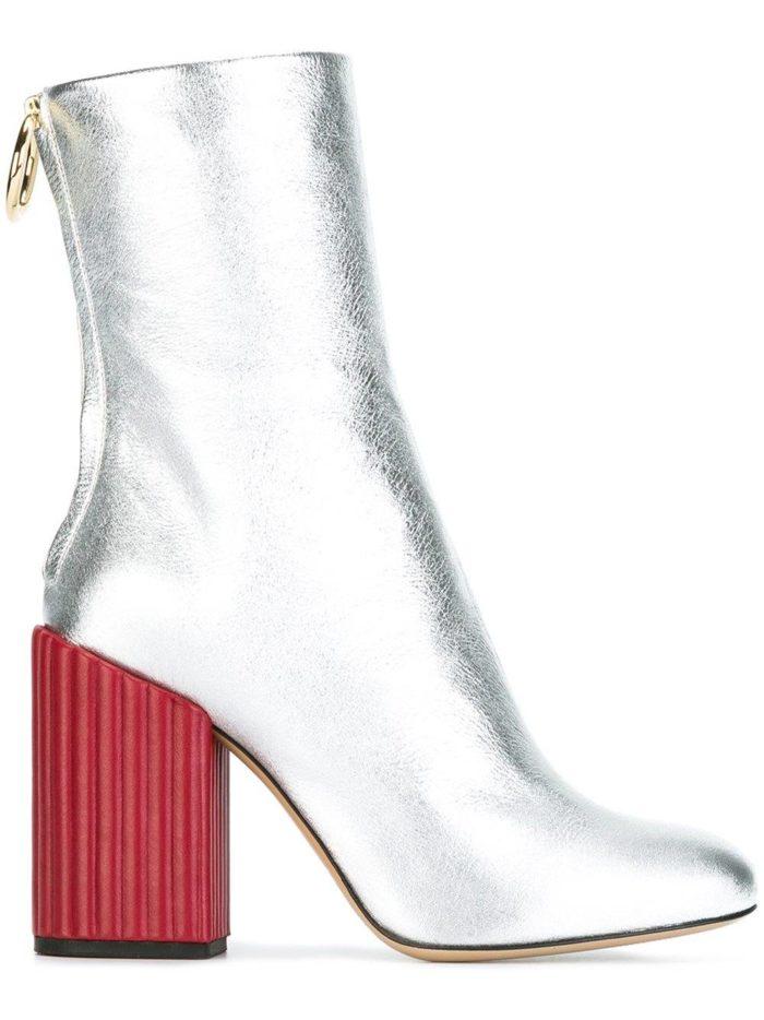 модные серебристые на красных каблуках