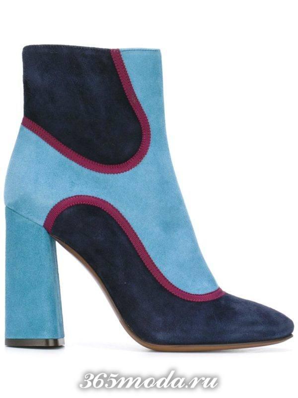 ботильоны: модные замшевые колорблок на каблуках