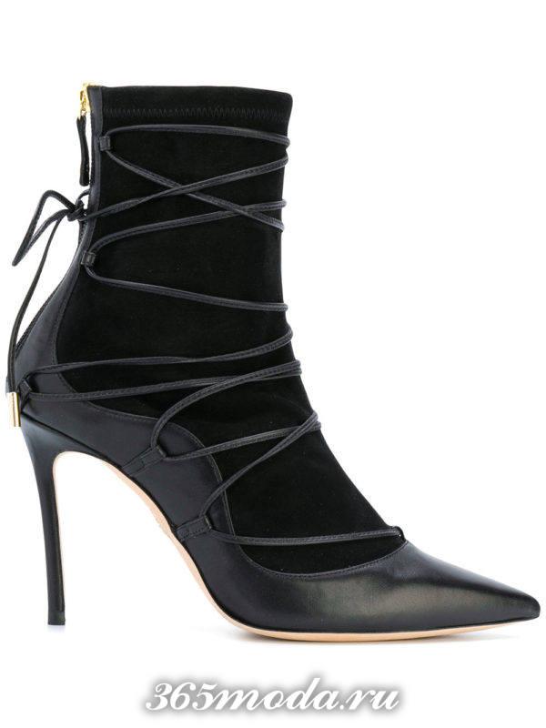 ботильоны: модные комбинированные на шпильке со шнуровкой