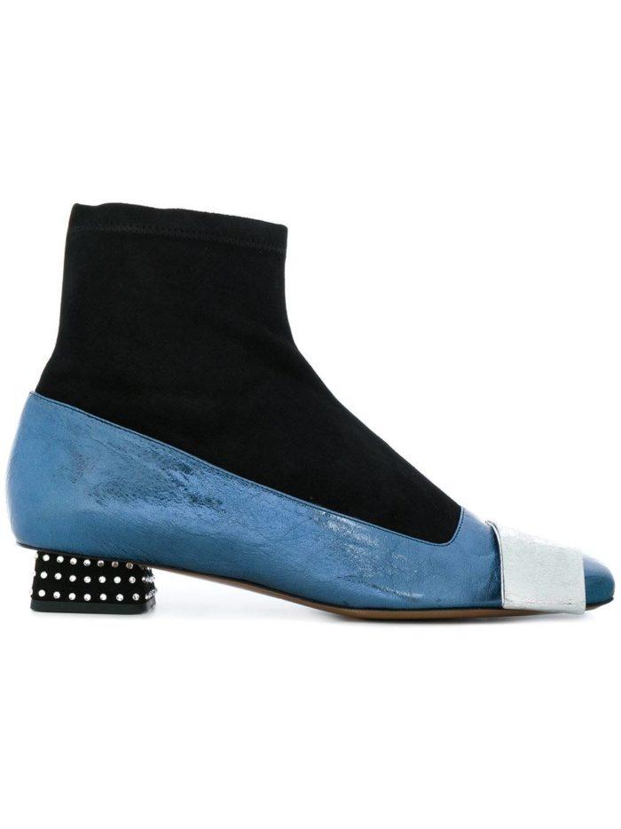 женские ботильоны 2019-2020: комбинированные на низких каблуках с декором модные тенденции фото