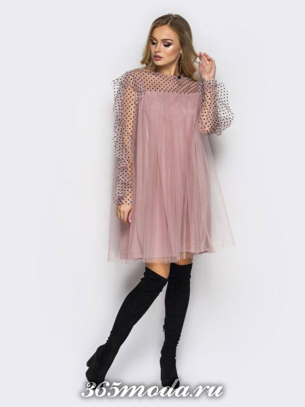 нюдовое многослойное мини платье для Святого Валентина
