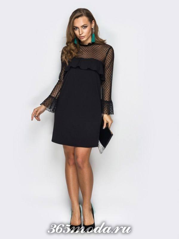 черное мини платье с призрачными рукавами для Святого Валентина