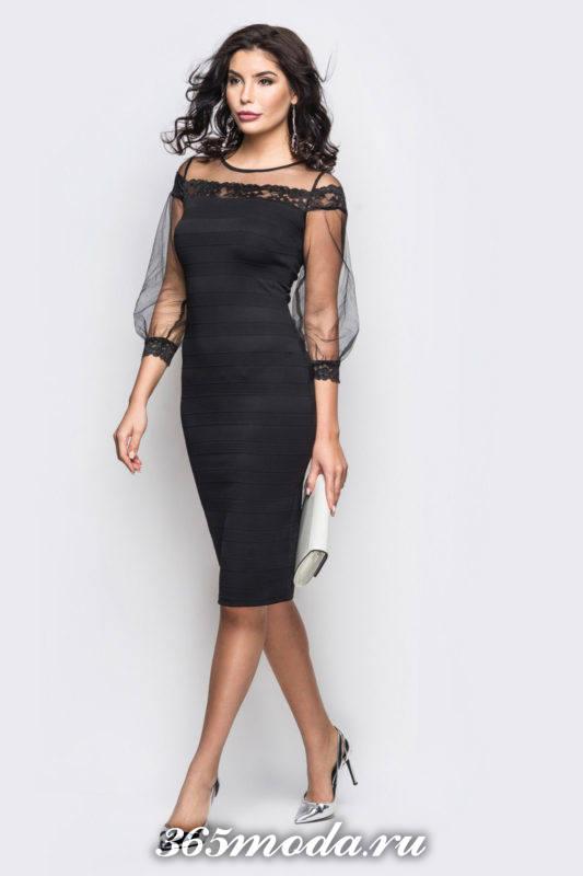 черное платье футляр с пышными рукавами для Святого Валентина