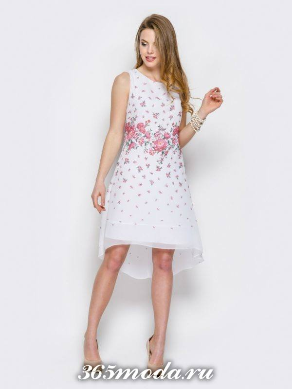 белое асимметричное платье с принтом для Святого Валентина