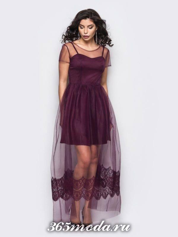 бордовое многослойное макси платье для Святого Валентина