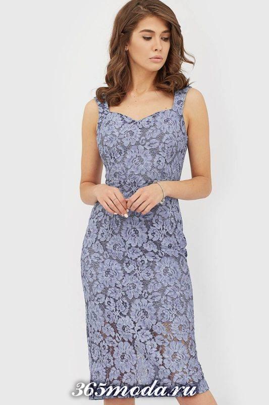 кружевное голубое платье футляр для Святого Валентина