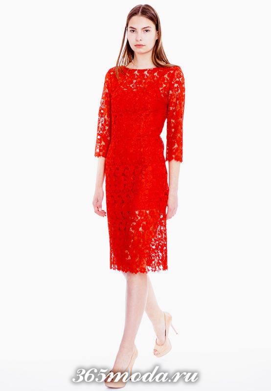 кружевное красное прямое платье для Святого Валентина