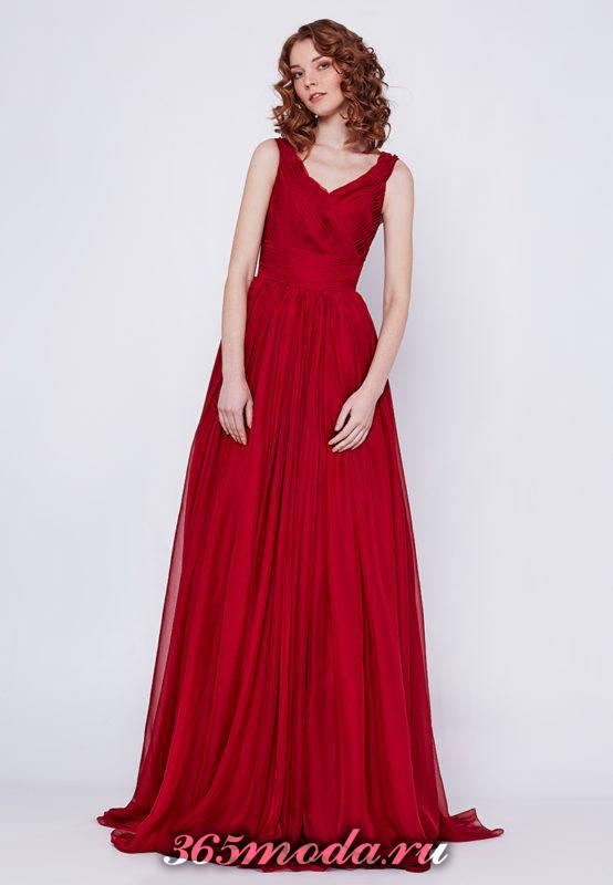 красное макси платье клеш для Святого Валентина