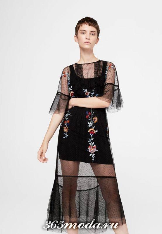черное прозрачное платье с вышивкой для Святого Валентина