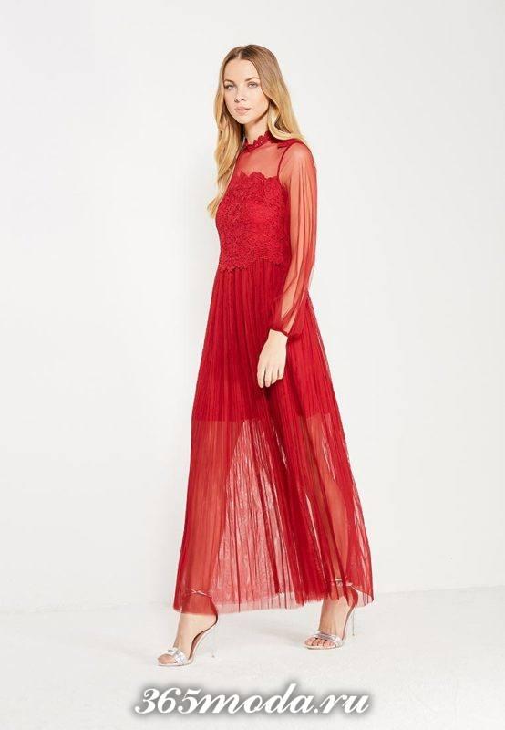 прозрачное макси платье с кружевом для Святого Валентина