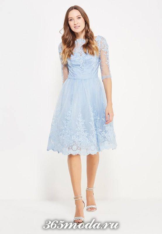голубое платье клеш с кружевом для Святого Валентина