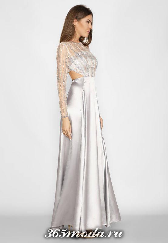 серебристое макси платье с декором для Святого Валентина