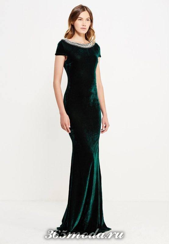 бархатное зеленое платье рыбка с декором для Святого Валентина