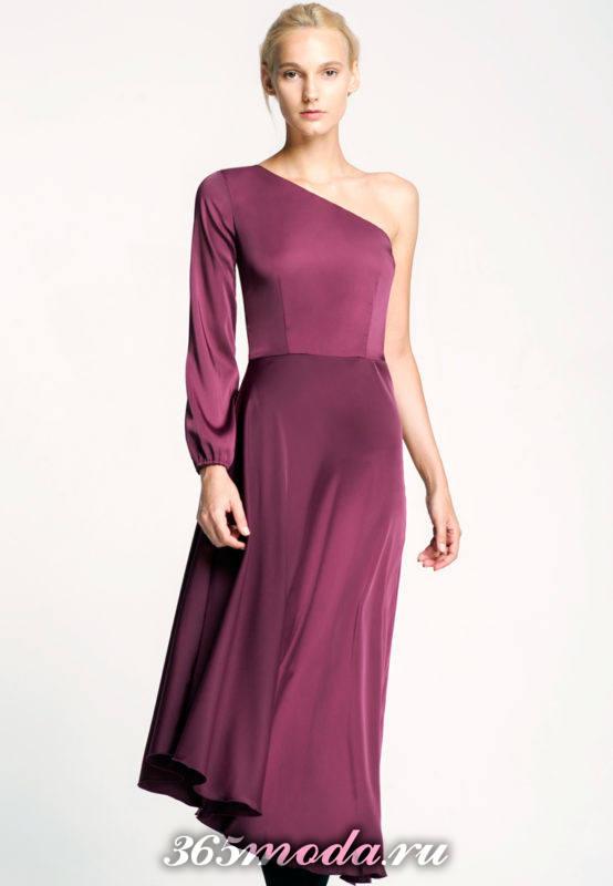 асимметричное фиолетовое миди платье для Святого Валентина