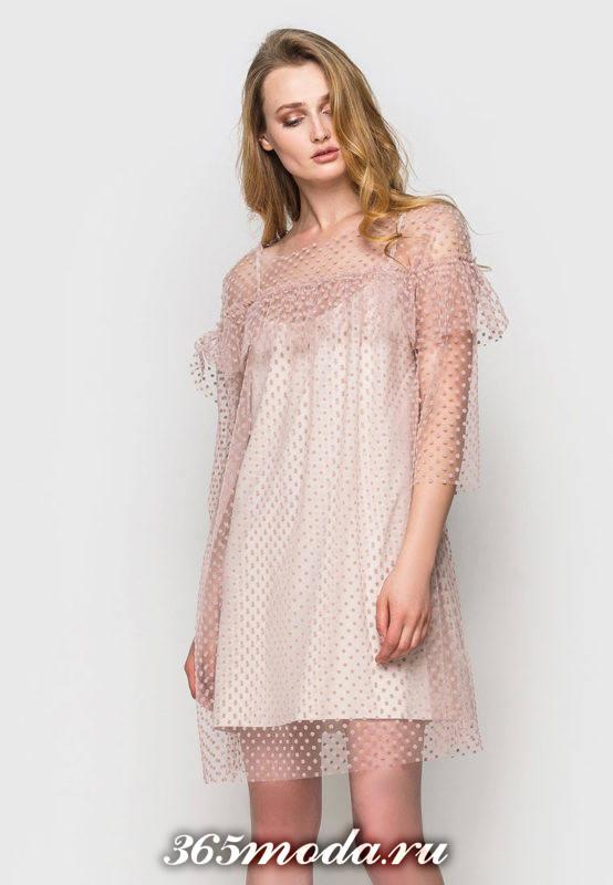 нюдовое мини платье с принтом для Святого Валентина