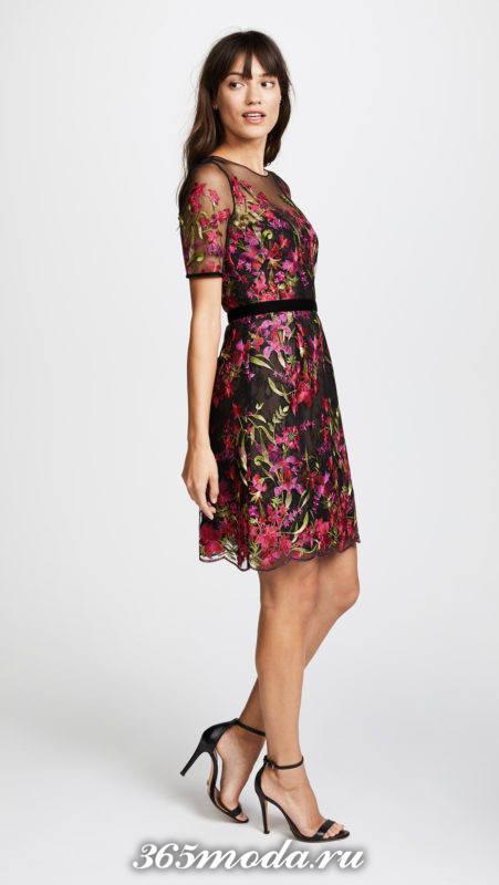 мини платье с принтом и поясом для Святого Валентина
