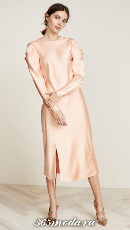 шелковое персиковое миди платье для Святого Валентина