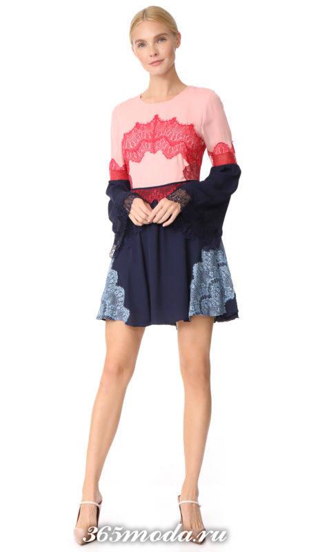 платье клеш с кружевом для Святого Валентина