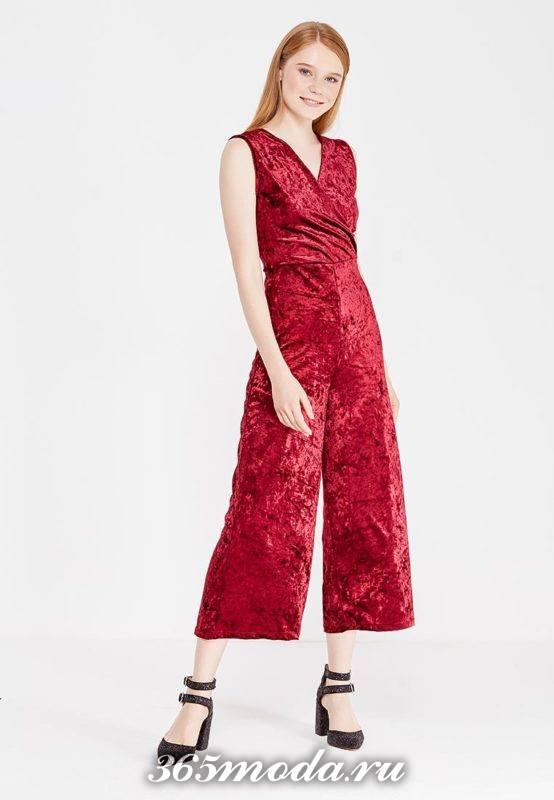 красный бархатный комбинезон для Святого Валентина
