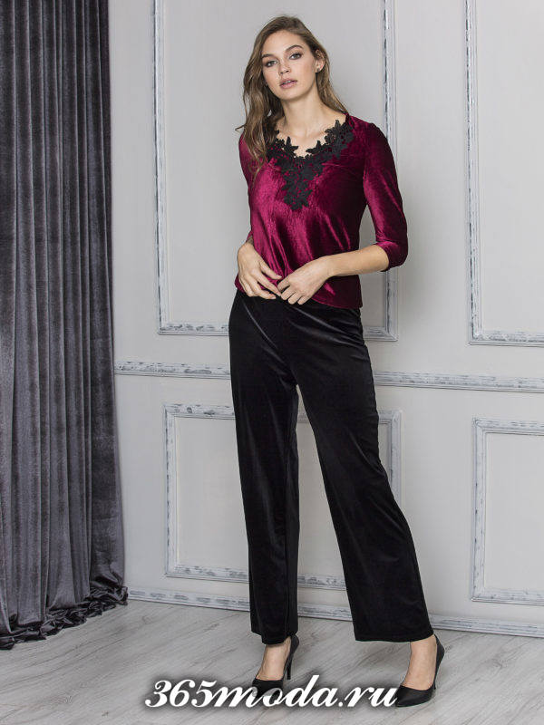 бархатные брюки клеш и бархатная блуза с кружевом для Святого Валентина