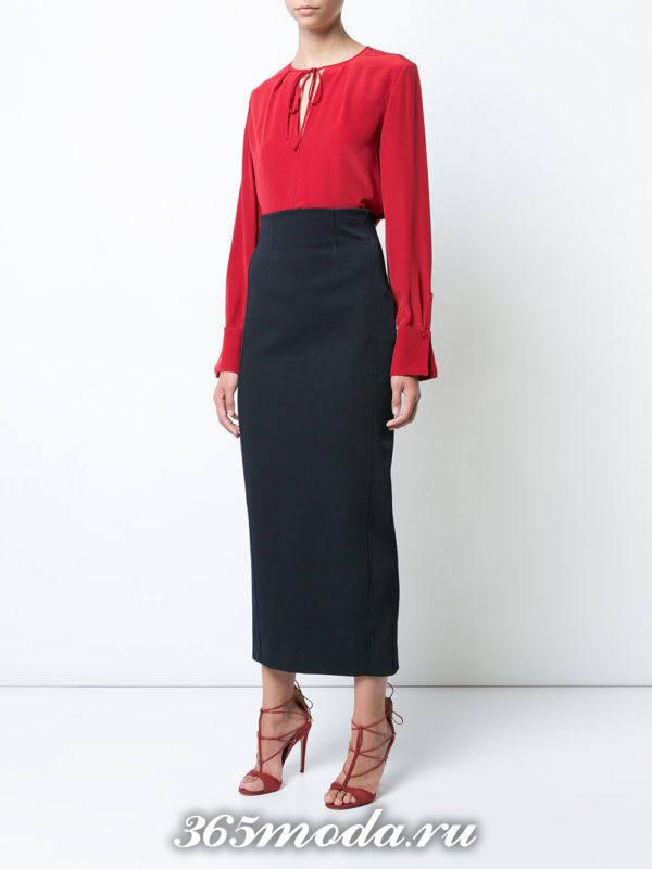 черная макси юбка и красная блуза для Святого Валентина