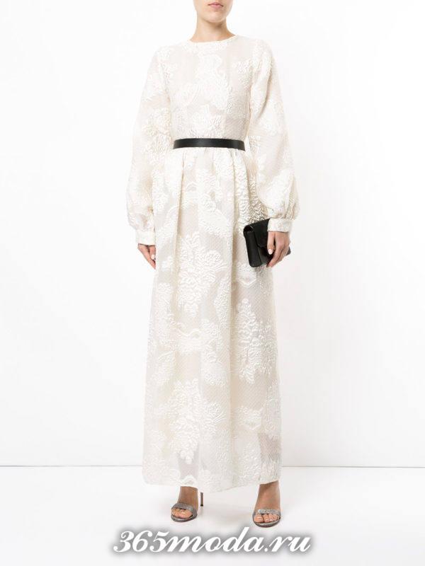 белое макси платье с принтом для Святого Валентина