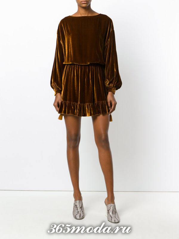 бархатное коричневое мини платье для Святого Валентина