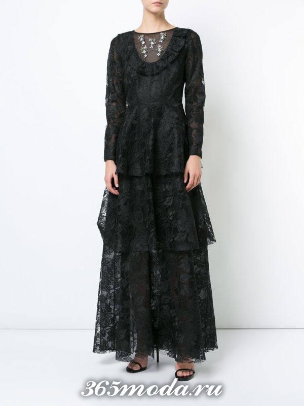 новогоднее многослойное кружевное макси платье для знака зодиака телец