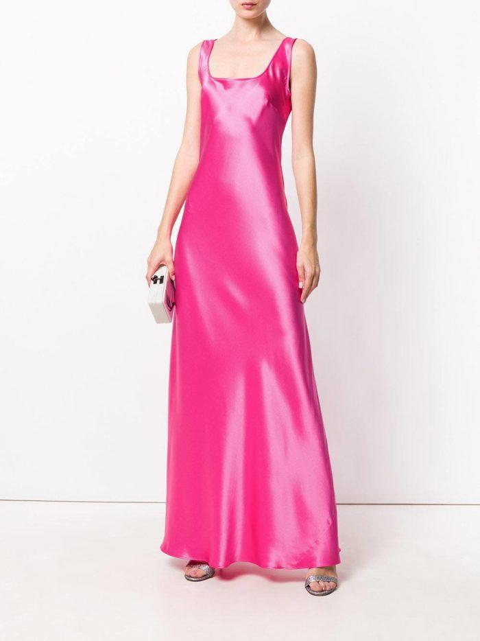 новогоднее шелковое розовое макси платье для знака зодиака телец