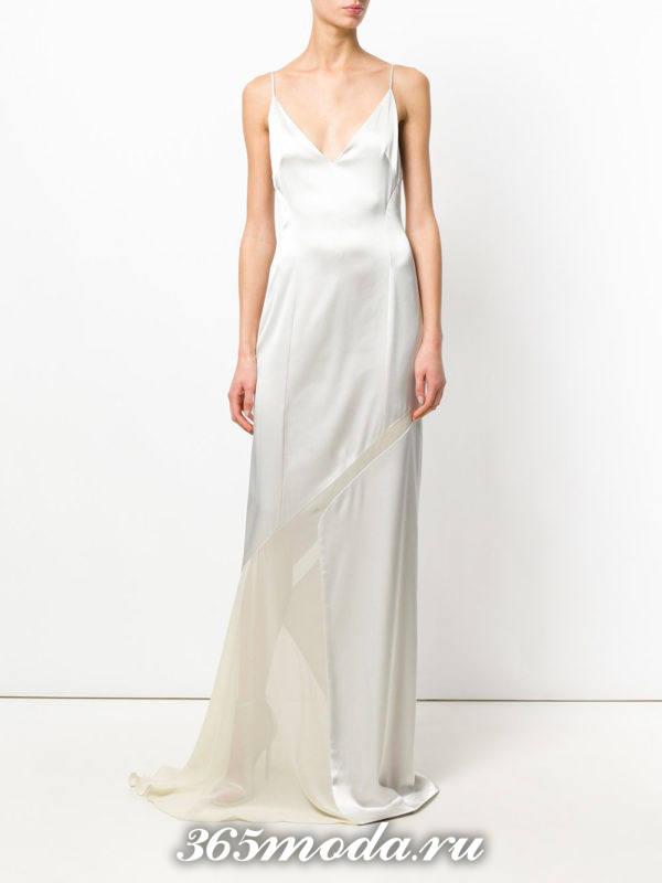 новогоднее белое макси платье о шлейфом для знака зодиака телец