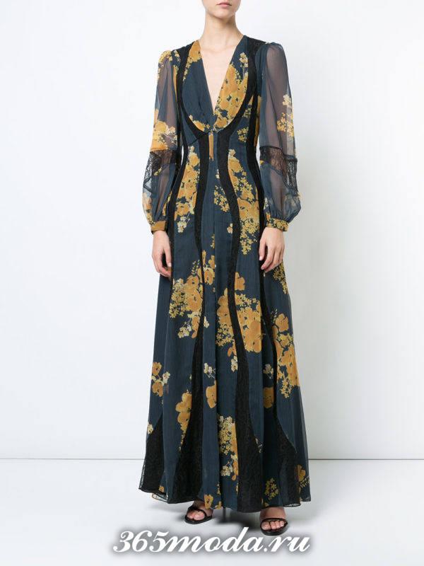 новогоднее черное макси платье с принтом для знака зодиака близнецы